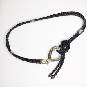 Black Braided Leather and Silver Tone Metal Belt
